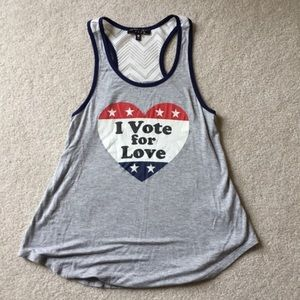 I Vote for Love tank top size small